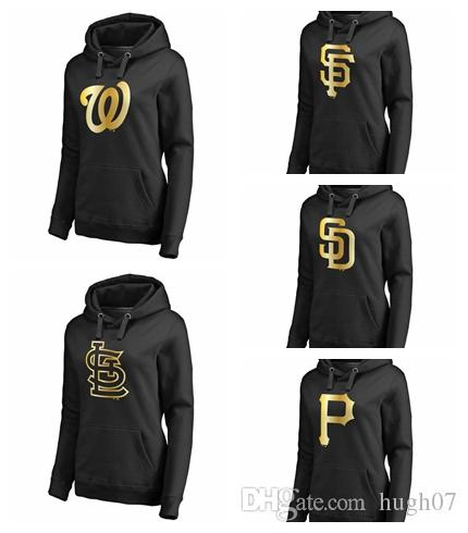 low priced 03b0b 8cd28 Washington Nationals St. Louis Cardinals San Francisco Giants San Diego  Padres Pittsburgh Pirates Women's Gold Collection Pullover Hoodie