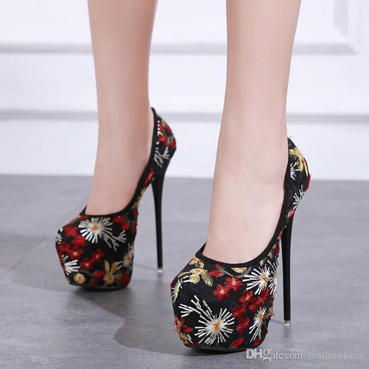 4972018075b0a Charm2019 16 cm Ethnische Blumenstickerei Gaze Ultra High Heels  Plattformpumpen Frauen Kleid Schuhe zu