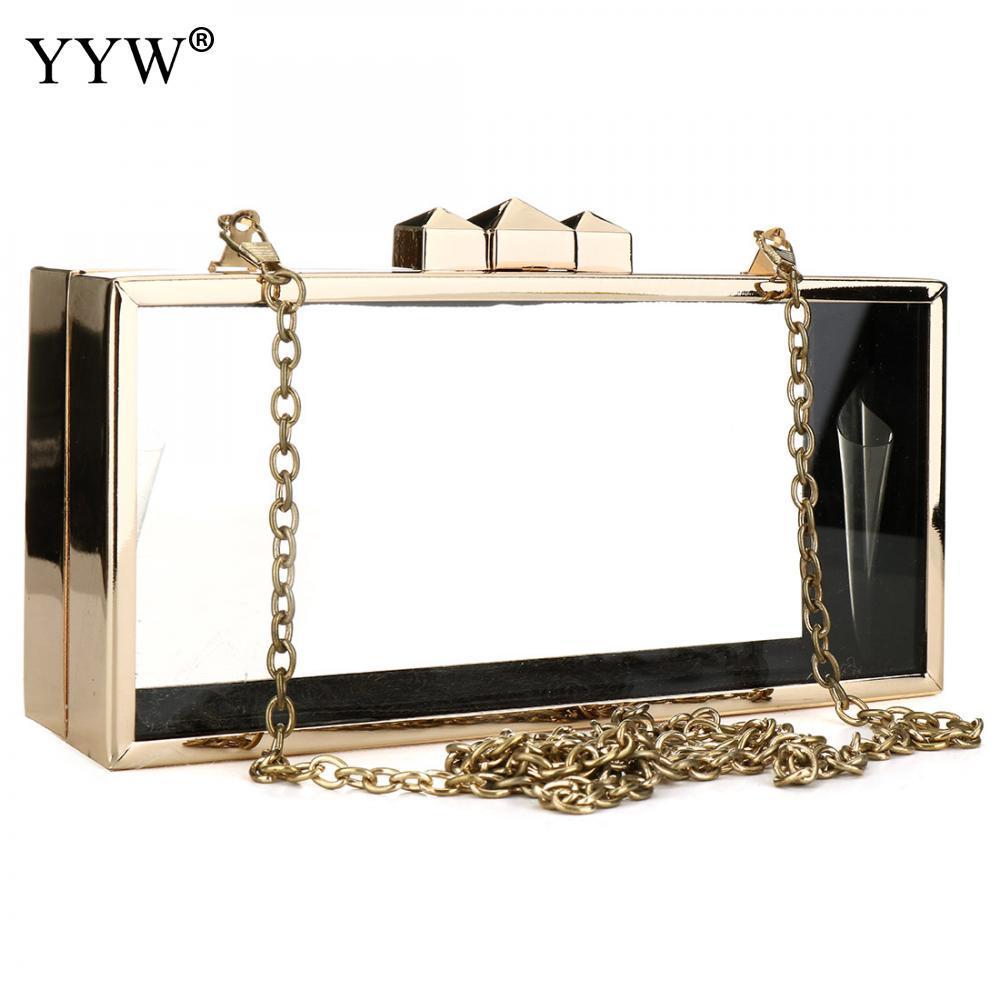 3c38fa1f2d82df New Acrylic Transparent Women Clutch Bag Box Shoulder Bags Hard Day Clutches  Gold Edge Bags Wedding Party Evening Purse 2019 Hot Black Leather Handbags  Red ...