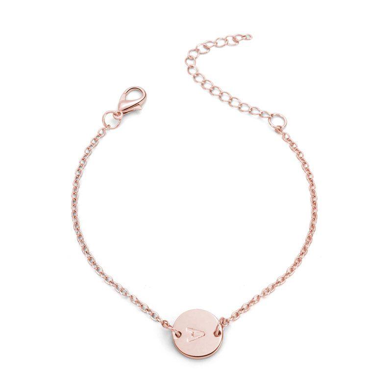 Fashion rose gold silver color 26 letter Bracelet for women girl simple Adjustable Name charm bracelet Handmade DIY Jewelry gift