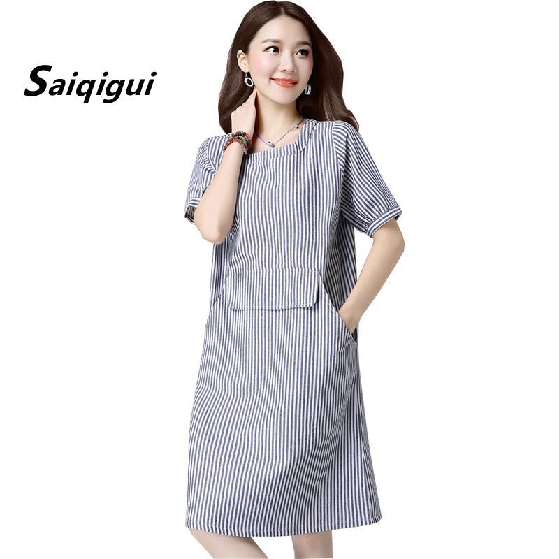 8f3057ea4c154 Saiqigui 2019 Fashion Summer Dress Women Chinese Style Short Sleeve Casual  Loose Plus Size Cotton Linen Dress Vestidos De Festa Q1904024 Dressing  Styles For ...