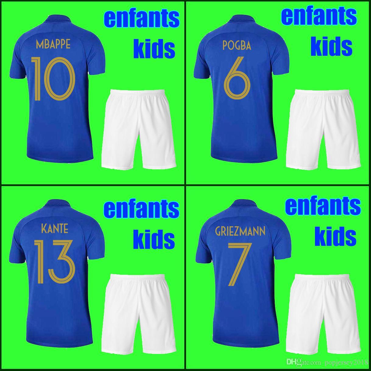 dcc92e063df59 Acheter Enfants Garçons Jeunes Kids Sets Maillot De Foot France 2019 100e  MBAPPE GRIEZMANN POGBA 2 Étoiles Maillots De Foot Français Maillot De  Football ...