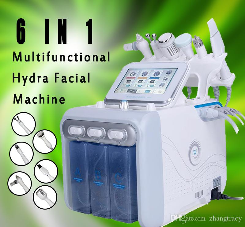 New 6 in 1 Aqua Hydra Facial Water Dermabrasion H2 O2 Oxygen Spray with RF Bio Lifting Spa Facial skin deep cleansing machine