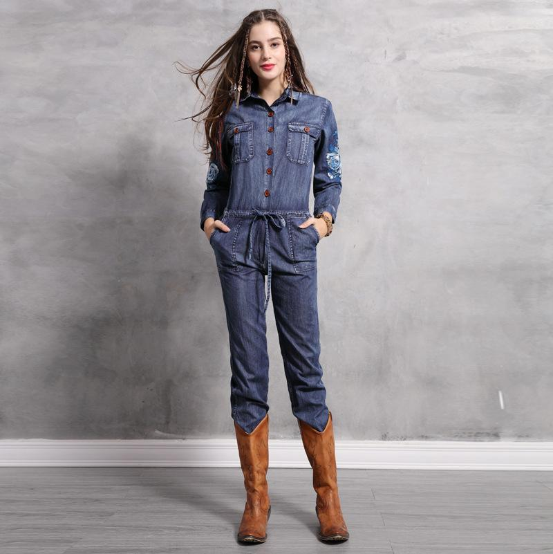 8dc4746ba94 2019 Vintage Denim Jumpsuit 2019 Spring Women Long Sleeve Pocket Button  Turn Down Collar Embroidery Jeans Jumpsuits From Gavinuni