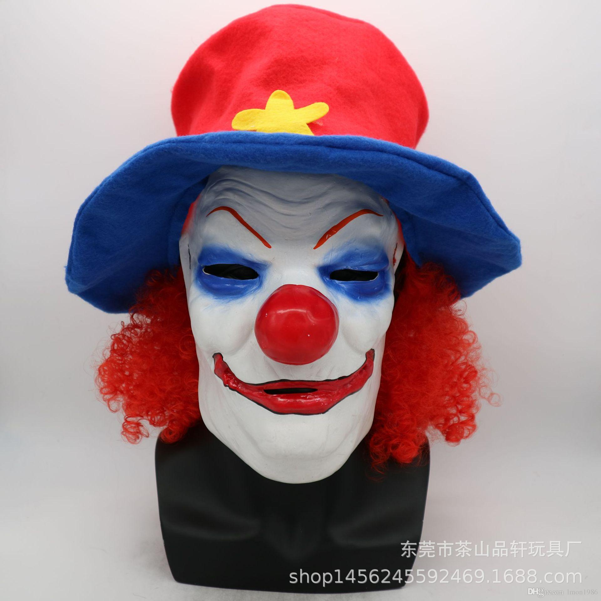 Funny Scary Evil Clown Mask Latex Rubber Mask Halloween Costume Clown Mask With Hair and Hat for Adults Free Shipping