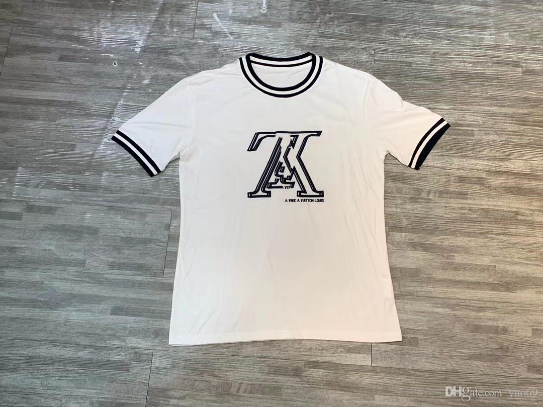Hot Sale Brand Men's Short Sleeve Fashion Designer Shirt Letters Cotton Reflective Wholesale Luxury Summer Tee Shirt 2019