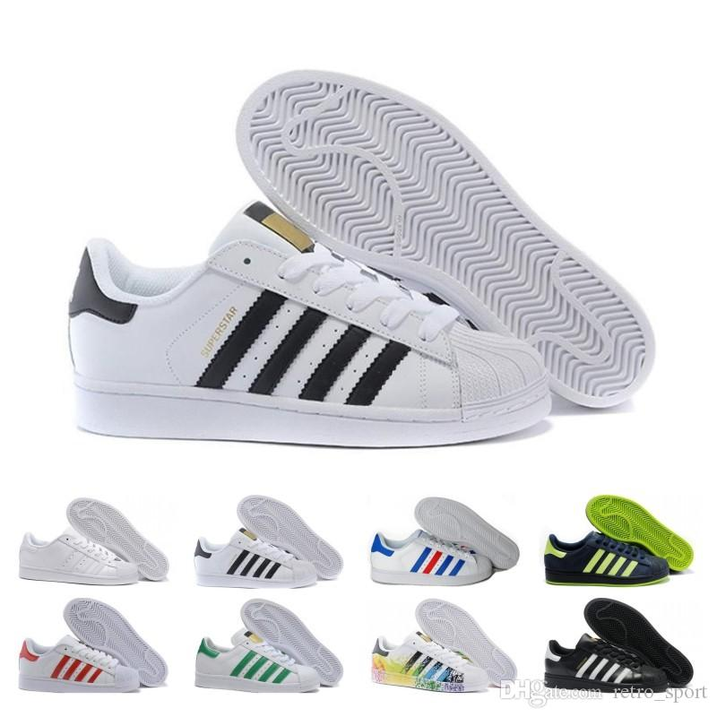 2019 Cheap Sale Super Star White Hologram Iridescent Junior Superstars 80s Pride Womens Mens Trainers Superstar Casual Shoes Size 36-45