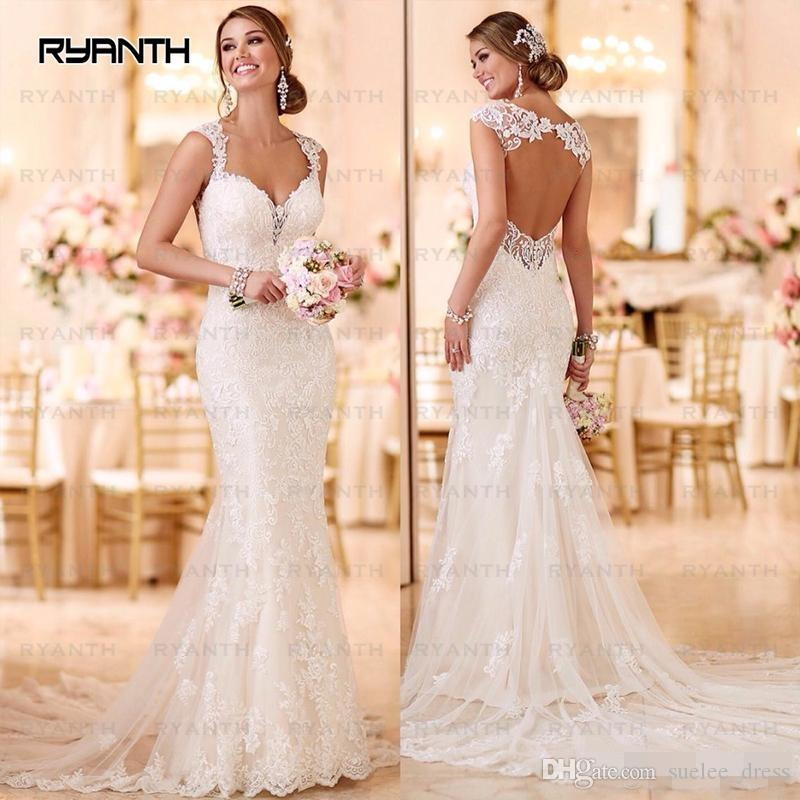 2019 Newest Backless Mermaid Wedding Dresses Lace Applique Sweetheart Neckline with Straps Hollow Back Custom Made Wedding Bridal Gowns