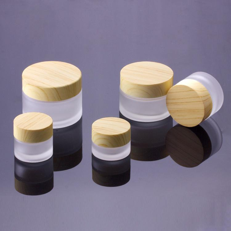 Frosted Glass Jar Cream Bottles Round Cosmetic Jars Hand Face Cream Bottle 5g-10g-15g-30g-50g Jars with wood grain cover PP inner liners