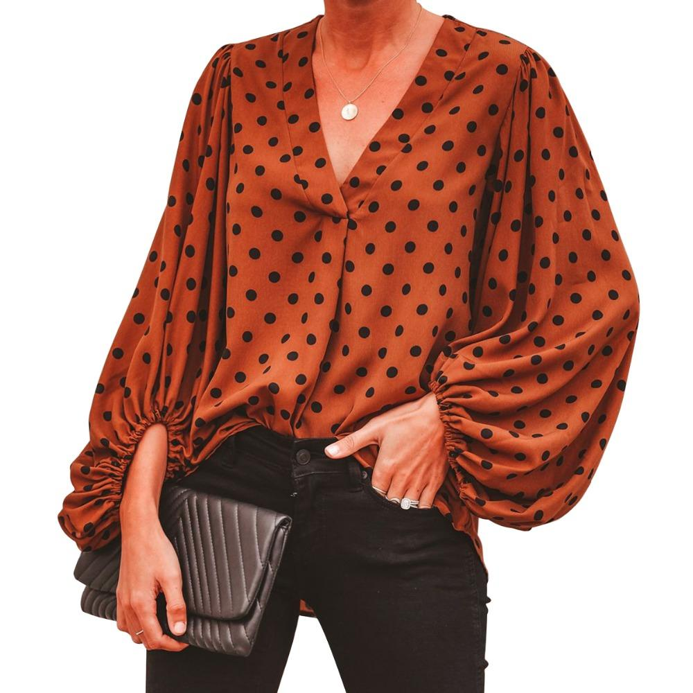 32d7e33a7acfb 2019 Women Fashion Puff Sleeve Blouse Polka Dot Leopard Print V Neck Loose  Tops Tee Blouse Shirt Loose Casual Tops Blusas From Vikey18