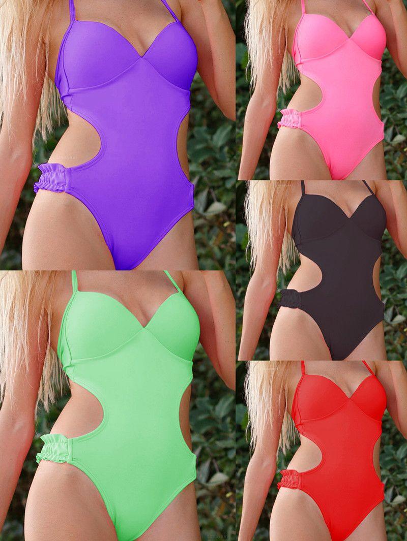 8747b65e97b 2019 Solid One Piece Swimsuit Women V Neck Crisscross Backless Monokini  Girl Beach Bathing Suits Open Back Swimwear J190206 From Janet1221, $9.02 |  DHgate.