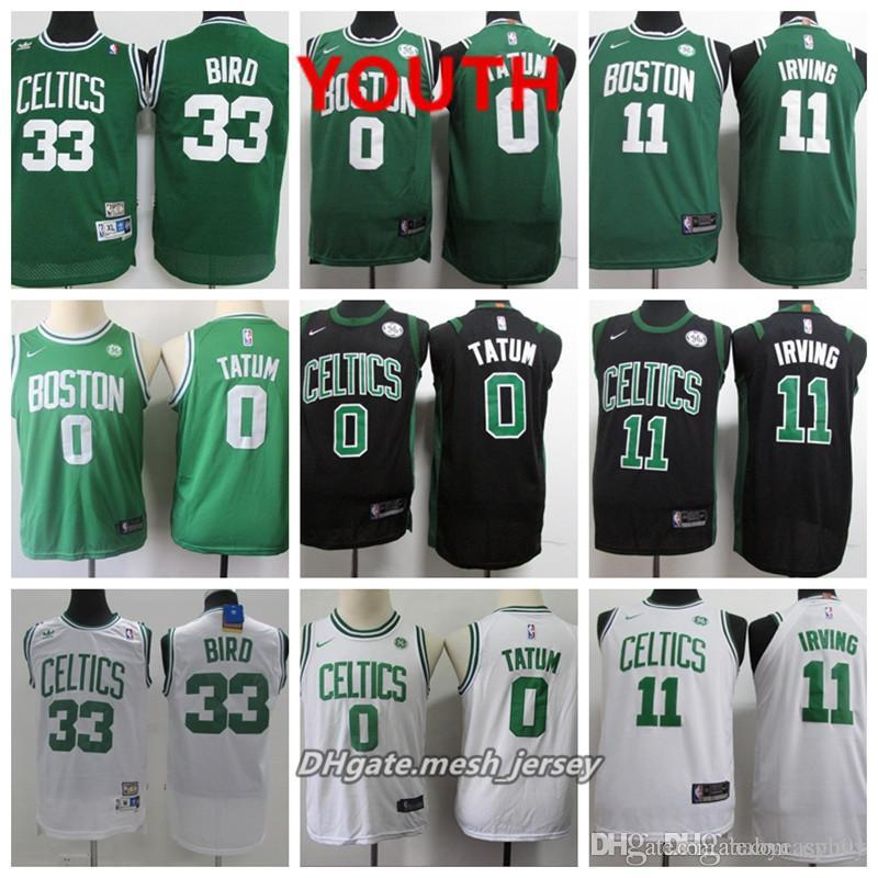 newest collection 4b82e 3fe73 Youth Celtic Boston Jersey Kyrie Irving Jayson Tatum Jaylen Brown Larry  Bird Stitched Baketball Jersey - Black White Green