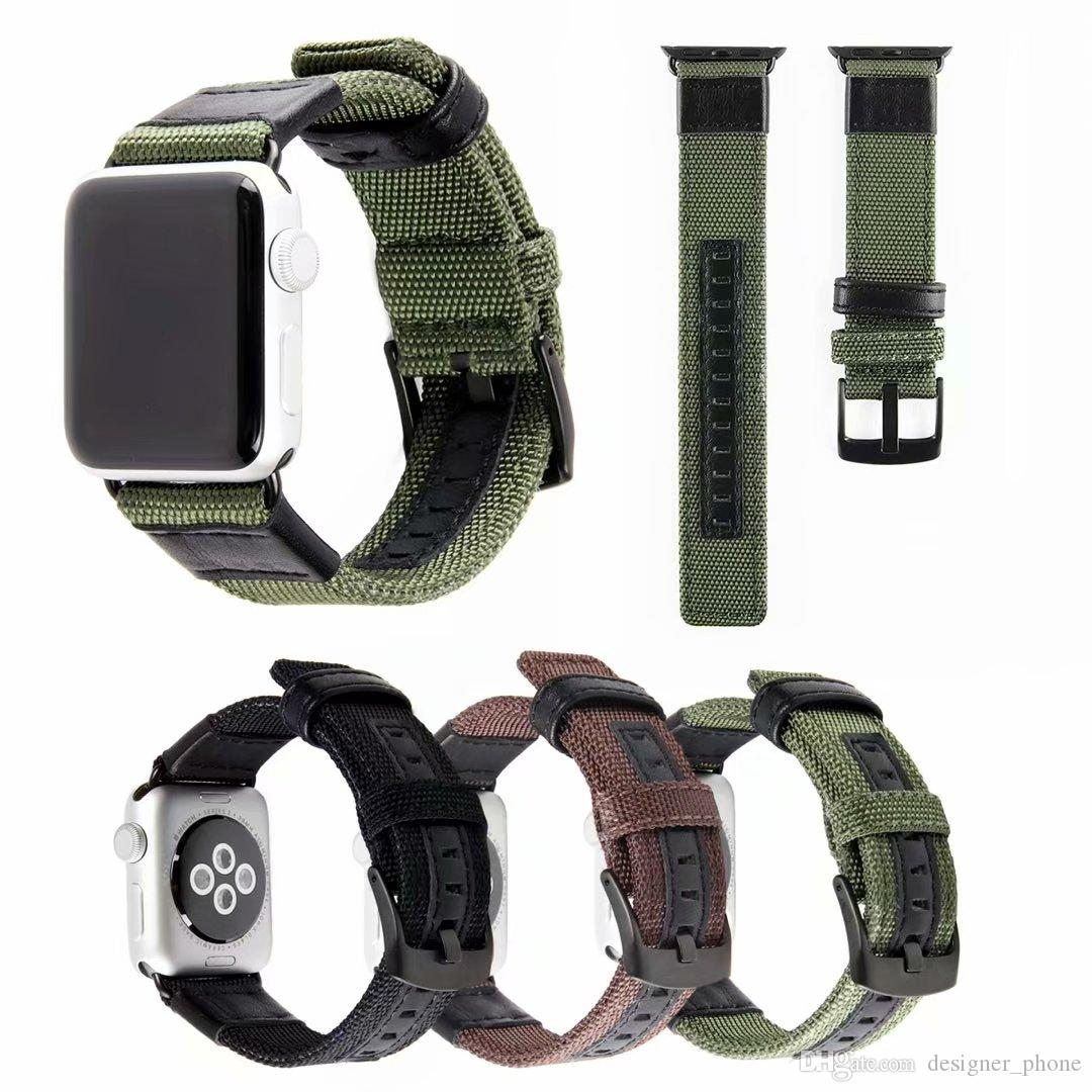 Wholesale Adapter Bracelet for Iwatch Bands 38mm for Apple Watch Band 42mm Accessorie 3 Colors Soft Sport Nylon Leather Leisure Watch Band