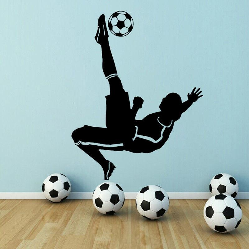 Soccer Goal Kick Football Player Vinyl Wall Sticker Decal Boys Kid Room Sports