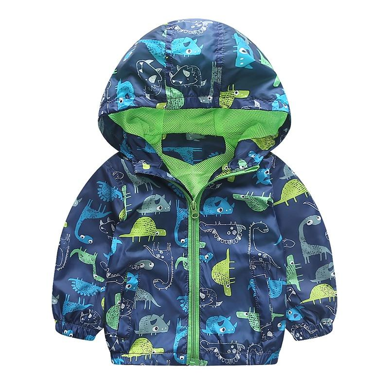 Cute Animal Windbreaker Kids Boys Jacket Dinosaur Baby Outerwear Coats Boys Kids Hooded Children Clothing 90-120cm