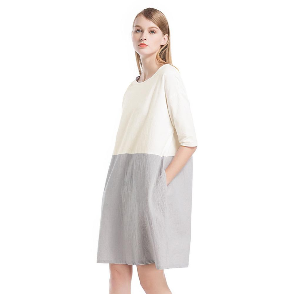 1f4824c0fb1e2 Compre 2019 Nuevo Vestido De Lino De Algodón Mujeres Ocasionales De La  Vendimia De Gran Tamaño Vestido Suelto O Cuello 3 4 Bolsillos De La Manga  Más Tamaño ...