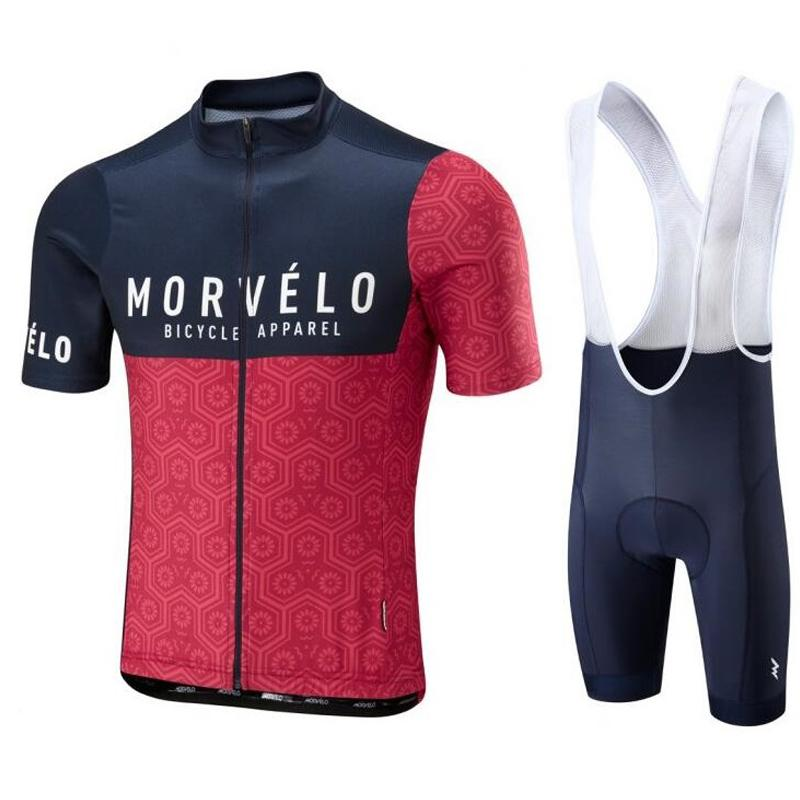 2018 Morvelo Breathable Summer Cycling Jersey Bib Shorts Set Bicycle ... 2990937af
