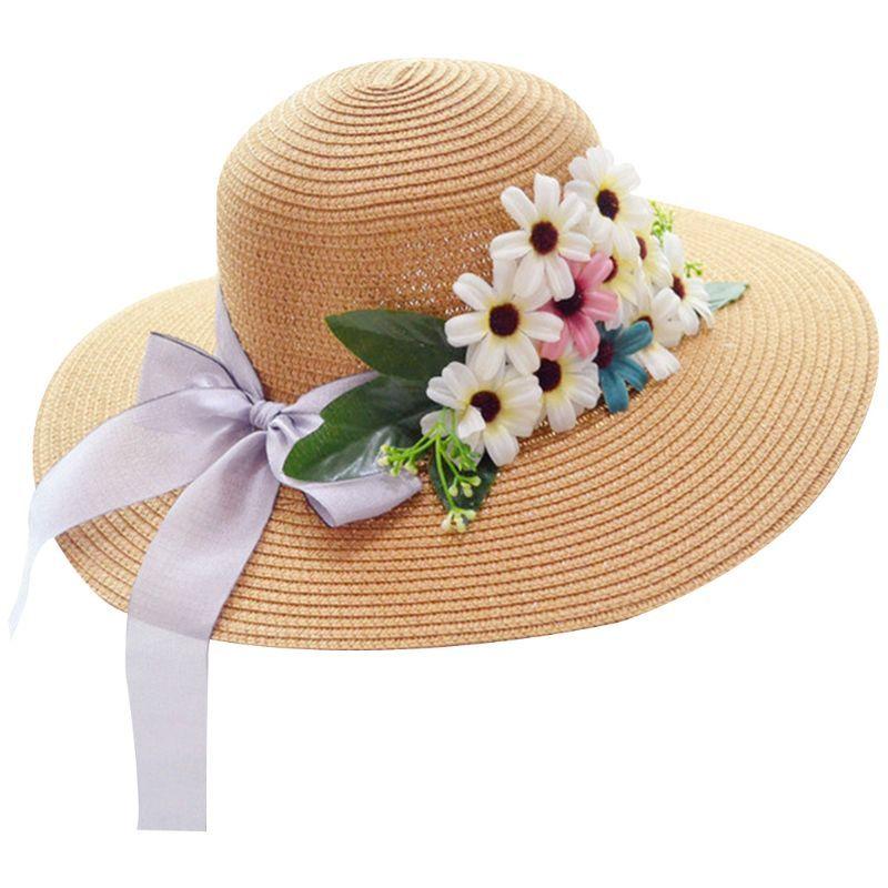 c58160d8 Women Summer Straw Weave Sun Visor Beach Hat Ribbon Bowknot Multi  Artificial Flowers Bucket Cap Large Wide Brim Foldable Pork Pie Hat  Snapback Hats From ...