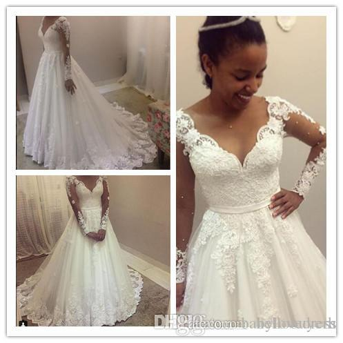 White A Line Tulle Long Sleeve Wedding Dresses Sweetheart Drop Waist Lace Applique Wedding Bridal Gowns Nigeria With Beads