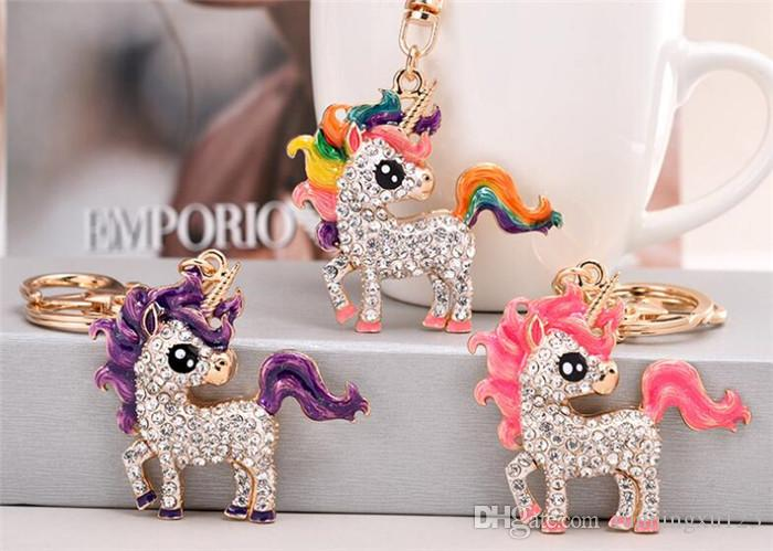 100pcs unicorn Rhinestone Keychain colorful Car Key Chain women car bag Key Ring Gift R413