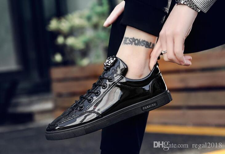 tops autumn new hot fashion men patent leather lace-up casual shoes trend shoes man cool loafers