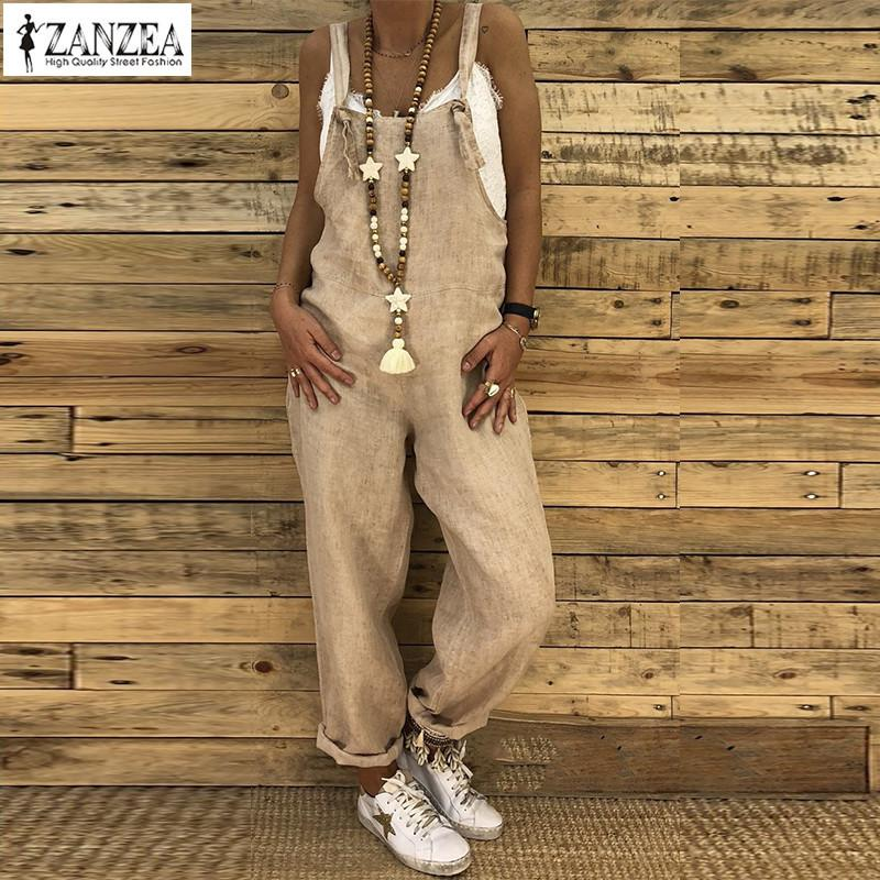 2019 Zanzea Women Vintage Strappy Solid Loose Jumpsuits Casual Cotton Linen Rompers Female Party Dungarees Harem Overalls S-5xl Y19051501