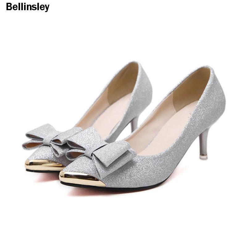908230ae Diseñador Zapatos de vestir Mujeres Sexy Tacones altos Bombas Moda Brillo  Cuero Metal Punta estrecha Bowtie Tacones altos Mujer Negro Plata Oro