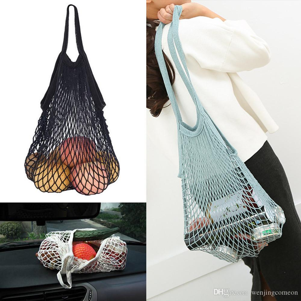 Reusable Fruit Shopping String Grocery Shopper Cotton Tote Mesh Woven Net Shoulder Bag Mesh Net Shopping Bag Long Wide Handle Cotton Bags