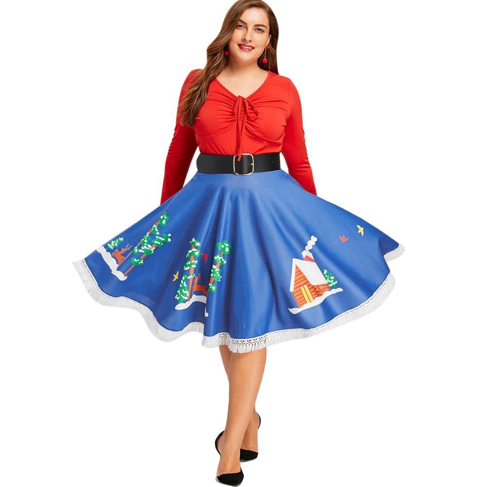 Christmas Plus Size Fringed Hem Flare Print Skirt