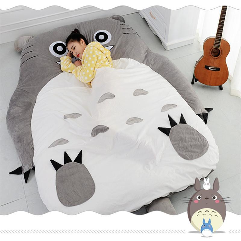 Totoro Bed skin sofa tatami mattress double bed thickened creative cartoon plush toys Soft comfortable gift 1.5*2.0CM