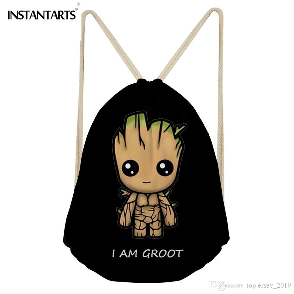 e21b97899e68 2019 INSTANTARTS Small Gym Drawstring Bag Men 3D Anime Groot Print Male  Sport Fitness Reusable Hiking Backpack Cinch Sack Storage Bag #29611 From  ...