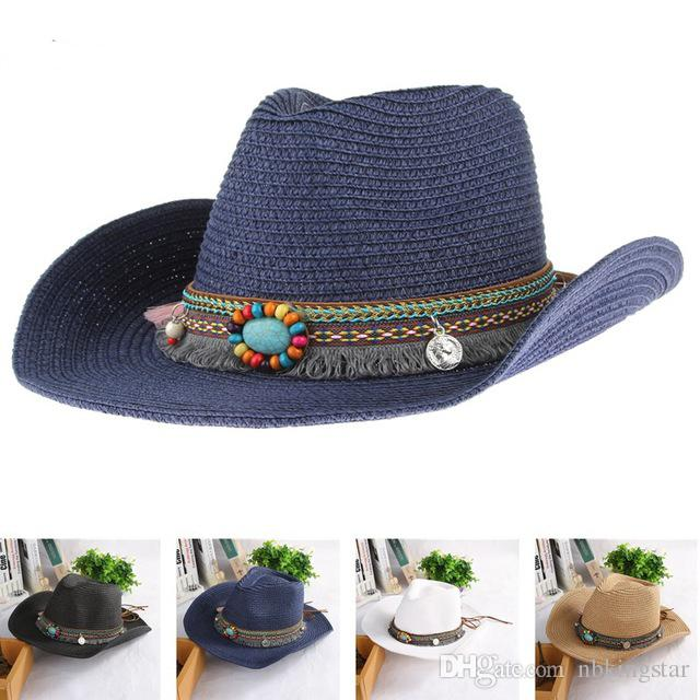 Summer Ethnic Hand Knitted Straw Hat Women Men Western Bohemia Cowboy Hat  Jazz Church Sun Hats Ethnic Straw Cowboy Hat Handmade Cowboy Sun Hat  Bohemia Jazz ... 104fa2ebf5be