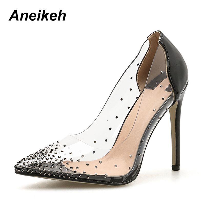 1ae1de80ca0352 Acheter Robe Aneikeh Femmes Chaussures De Mariage De Mode Talon Fin Bout  Toit Strass Décoration Escarpins Chaussures Chaussures À Talons Hauts  Chaussures ...