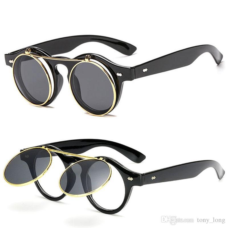 13f58eb685 Compre Gafas De Sol Para Hombres, Mujeres Moda Sunglases Para Mujer Retro  Gafas De Sol Para Hombre Gafas De Sol Redondas Unisex Flip Circular Gafas  De Sol ...