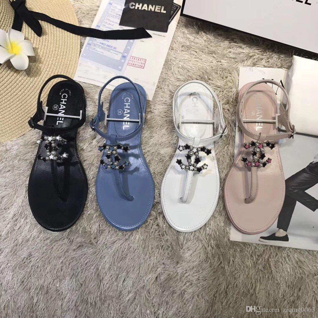 ce1e3b4e2 2019 Designer Sandals Women Sandals Designer Slides Brand Fashion Striped  Sandals Causal Summer Huaraches Slippers Flip Flops Slipper BOX Buy Shoes  Online ...