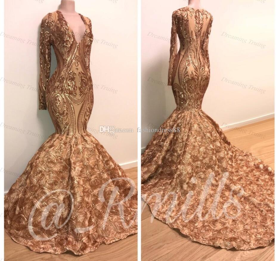 Sparkly Sequined Mermaid Long Sleeve V Neck Gold Prom Dresses African 2019 Sexy High Neck Court Train Black Girls Graduation Dress