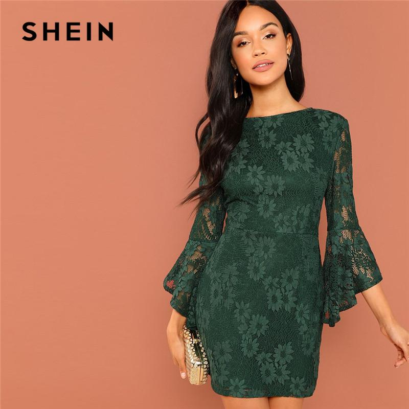 cdbb25a6bf 2019 Shein Green Going Out Round Neck Flounce Sleeve Guipure Lace Sheer  Zipper Slim Bodycon Dress 2018 Summer Elegant Women Dresses Y19041801 From  ...