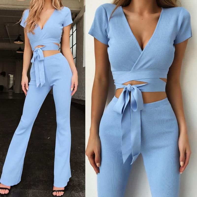 733d2ee02683 2019 Women Casual Solid Color V Neck Short Sleeve Slim Lace Up Crop Top T  Shirt Tee + Fitness Full Length Pants Suit Two Piece Set From Frenzen, ...