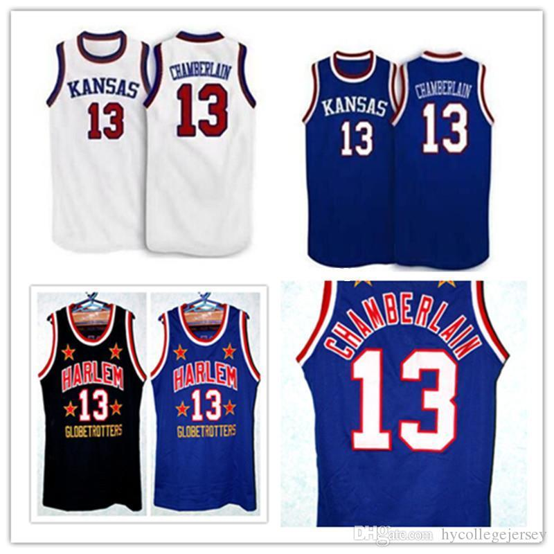 af6463302 2019 Cheap Kansas Jayhawks 13 Wilt Chamberlain Retro Too Tall Hall Harlem  Globetrotters Jerseys Size Men S Embroidered Basketball Jersey From ...