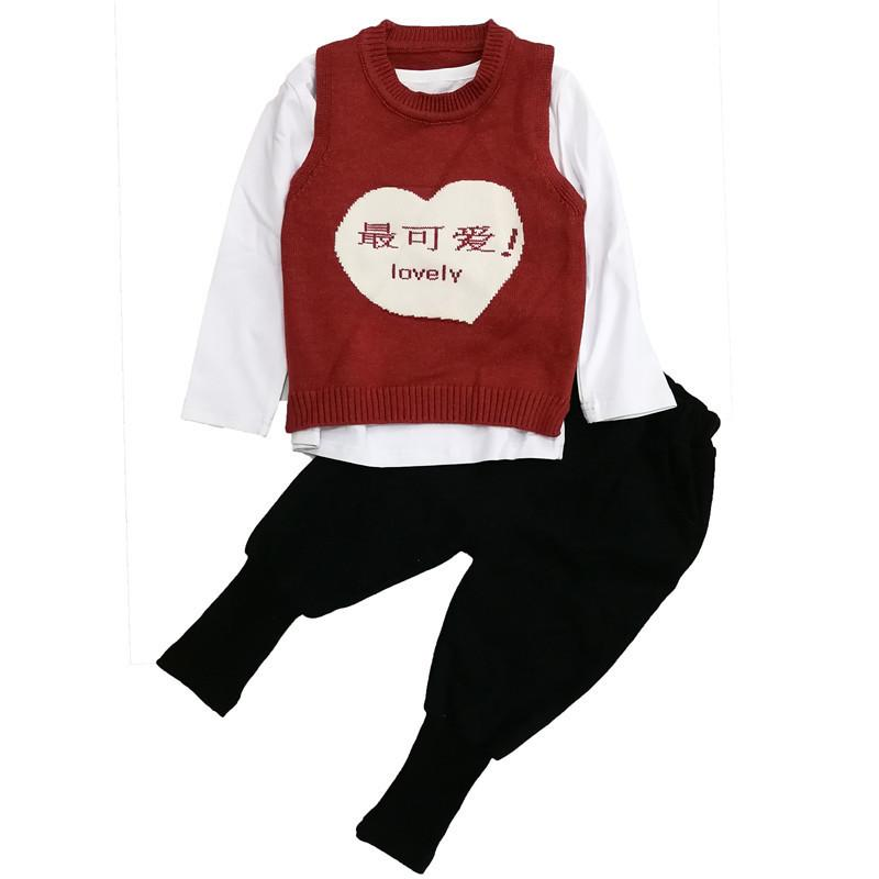 0-4 years High quality boy girl clothing set 2019 new spring casual lovely kid suit children baby clothing vest +T-shirt+pant