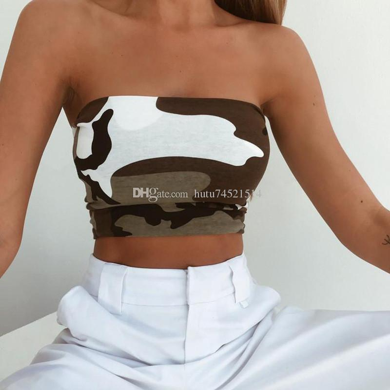 a66dc212516 2019 Camouflage Strapless Crop Top 2018 Women Fashion Female Casual Summer  Tank Tops Pullover Corset Tops T Shirt Clothes From Hutu74521514