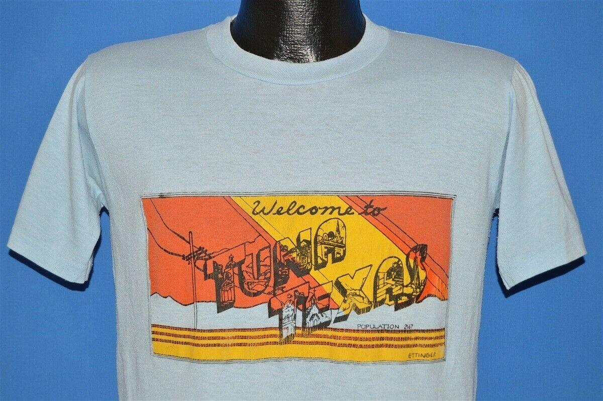 vintage 80s WELCOME TO TUNA TEXAS FICTIONAL TOWN COMEDY PLAY BLUE t-shirt M  Funny free shipping Unisex Casual top