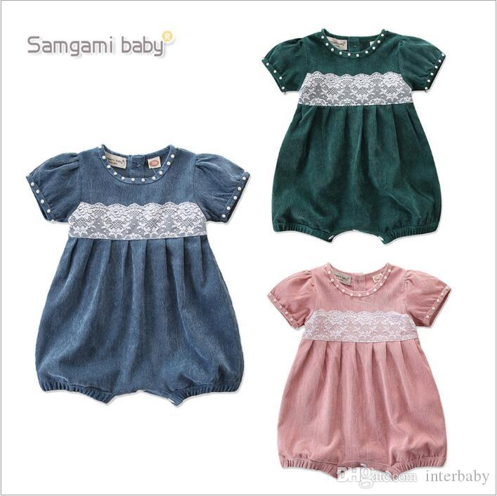 4f8b04462 2019 Kids Clothes Ins Girls Summer Rompers Toddle Lace Cartoon ...