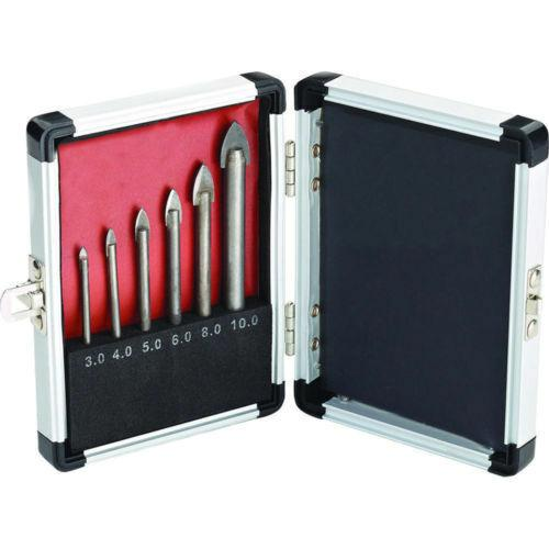 NEW 6 PC PIECE GLASS AND TILE DRILL BIT SET KIT 3 4 5 6 8 10 MM CASE