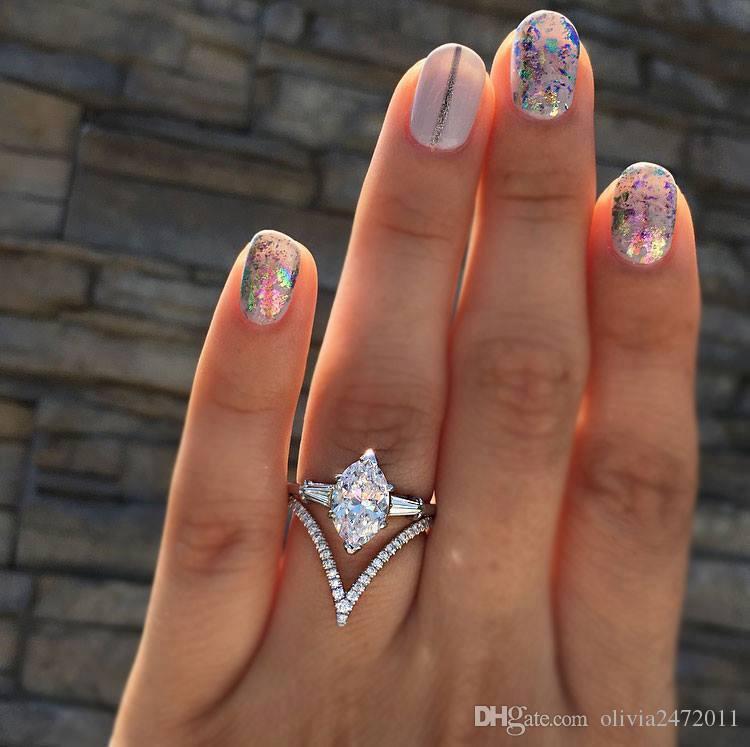 Which Hand Wedding Ring Female.Fashion Crystal Zircon Ring Set For Women Geometric Party Engagement Wedding Ring Female Bijoux Statement Jewelry Sj