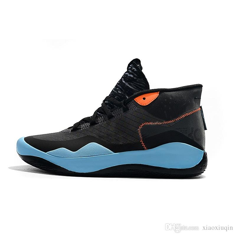 Cheap Mens kd 12 basketball shoes Black Blue Warriors Home new boys girls 90s kids kd12 kevin durant xii sneakers tennis with box size 5 13