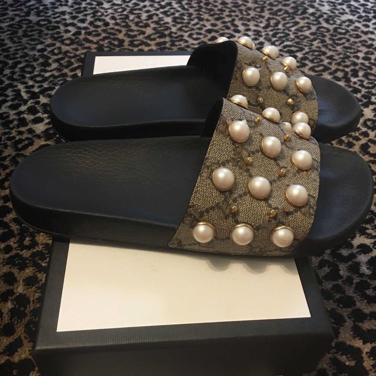 ed0e2609f480 With Box 2019 New Hot Women Pearl Rubber Pearl Slide Sandal Slippers Flip  Flops Brand New NIB Women S Pursuit Pool Slide Sandals Buy Shoes Online  Wedge ...