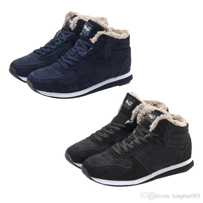 402b9e1700f Compre Botas De Invierno Para Hombre Zapatos De Invierno De Cuero Para  Hombre Tallas Grandes Tenis Zapatillas De Deporte Para El Invierno Botines  Para ...