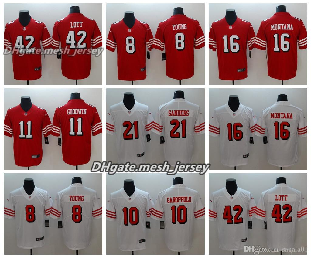 the best attitude 5f3b8 5baf6 Men San Francisco Jersey 49ers 8 Steve Young 10 Jimmy Garoppolo 11 Marquise  Goodwin 42 Ronnie Lott 16 Montana Color Rush Football Jerseys