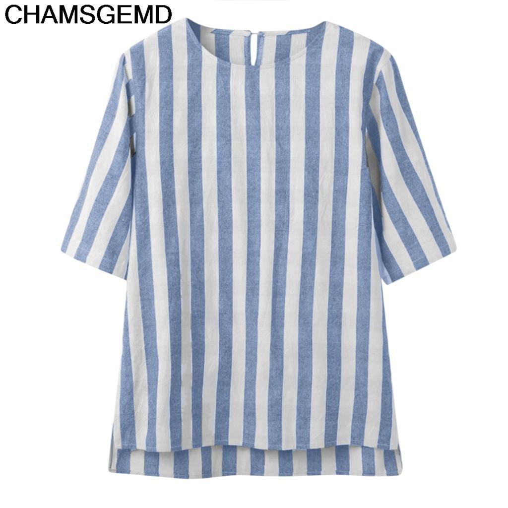 e019465b82 2019 CHAMSGEND Shirt Fashion Men Shirts Casual Linen Striped Shirt ...